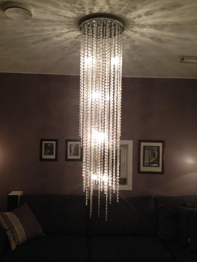 Lampe med glassprismer