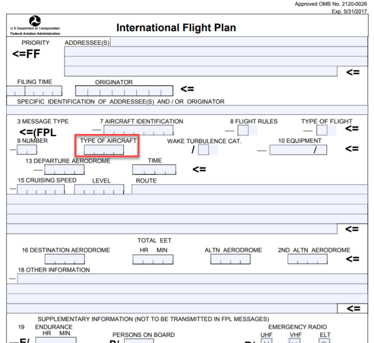 ICAO Flight Plan Aircraft Type