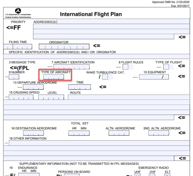 ICAO Flight Plan Aircraft Type