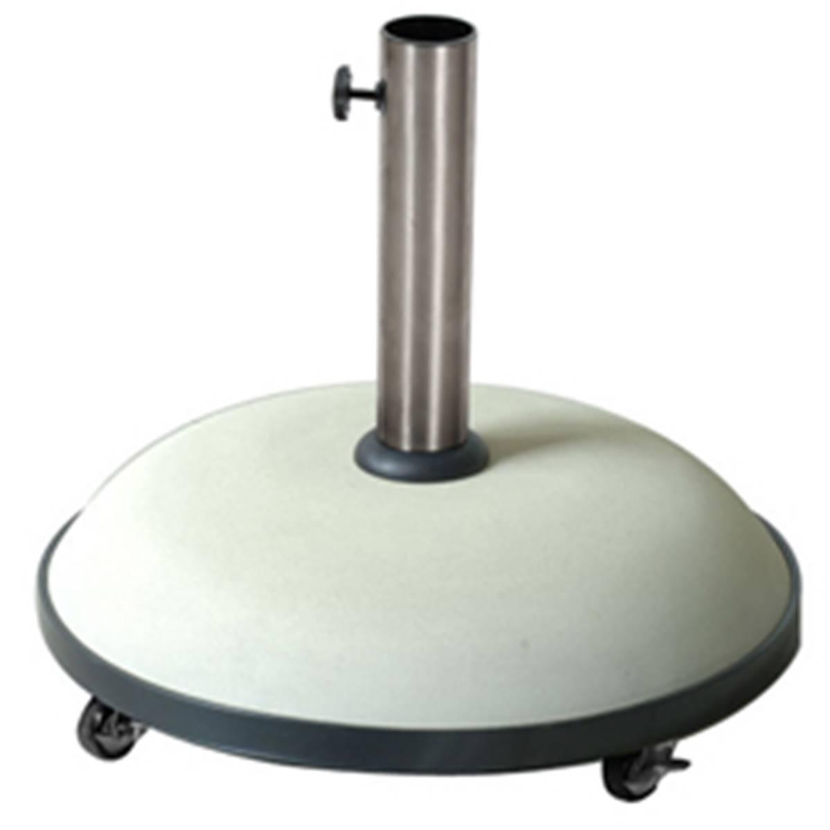 pied de parasol sur roulette en beton colori blanc