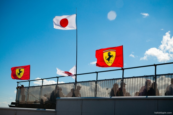 Flags atop the grandstands at Suzuka International Circuit for the 2010 Formula One Japanese Grand Prix.