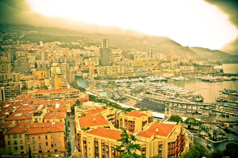 A view of Monaco's harbor, after the finish of its famous grand prix motor race.