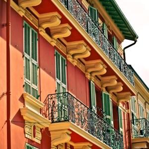 Sherbet-colored architecture in Monaco's La Condamine district.