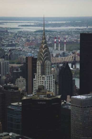 A photo of the Chrysler Building as seen from the observation deck of the Empire State Building.