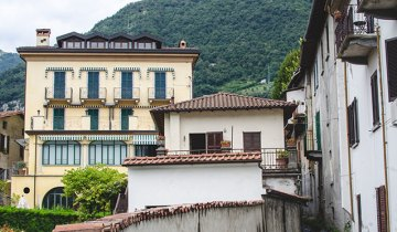 Houses front the lakeside promenade in the comune of Lenno, located in Italy's Lake Como.