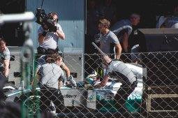 Lewis Hamilton in the pit lane during Saturday's qualifying round.