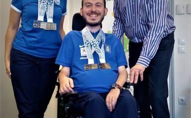Ο Δήμαρχος Περιστερίου υποδέχτηκε τον Περιστεριώτη Ολυμπιονίκη και Παγκόσμιο Πρωταθλητή Μπότσια, Γρηγόρη Πολυχρονίδη