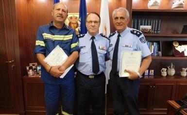 Αστυνομία Κύπρου :Σε μια σεμνή τελετή που πραγματοποιήθηκε σήμερα στο Γραφείο του Αρχηγού Αστυνομίας, ο Αρχηγός κ. Κύπρος Μιχαηλίδης, τίμησε δύο Ανώτερους Αξιωματικούς