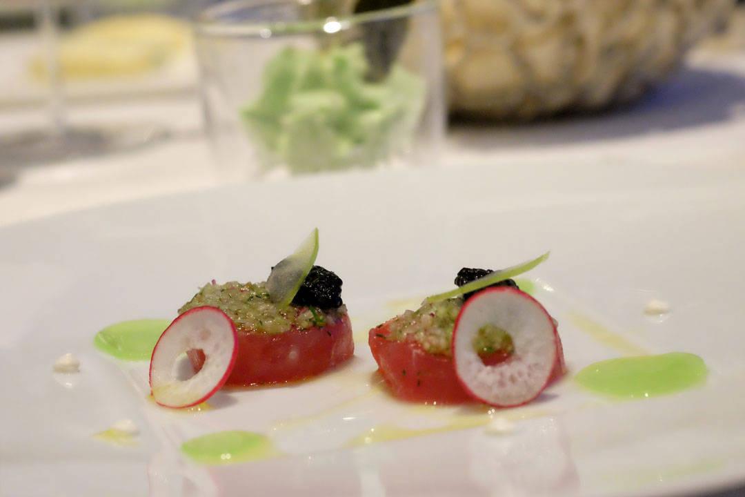 Tuna Gravelax Cured with Vodka and Coriander, Siberian Oscietra Caviar, Green apple, Cucumber and Celery yuzu Jelly.