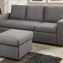Chocolate Brown Leather Sectional Sofa With 2 Storage Ottomans Modern Evon Gray Linen