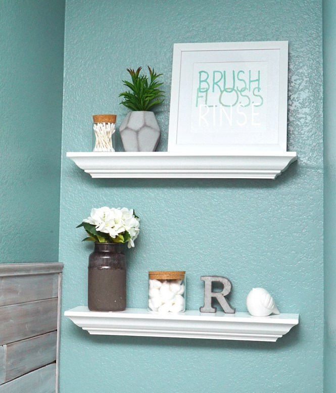 master bathroom makeover - floating shelf decor