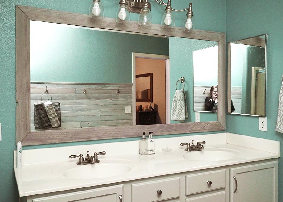 Diy Bathroom Mirror Frame For Under 10, How To Put Molding Around A Mirror