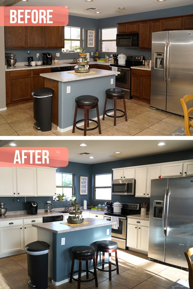 Kitchen before and after painted cabinets
