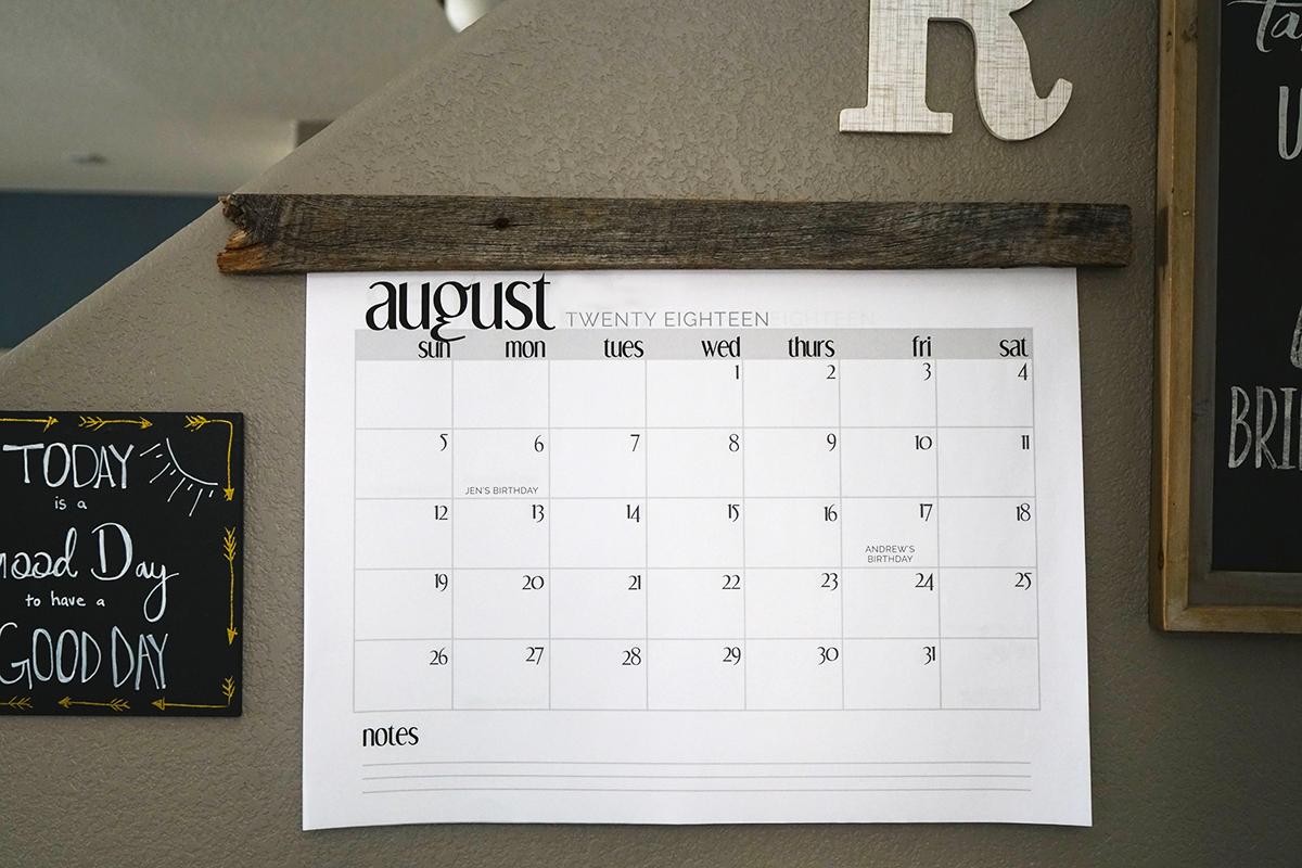 diy wall calendar finished