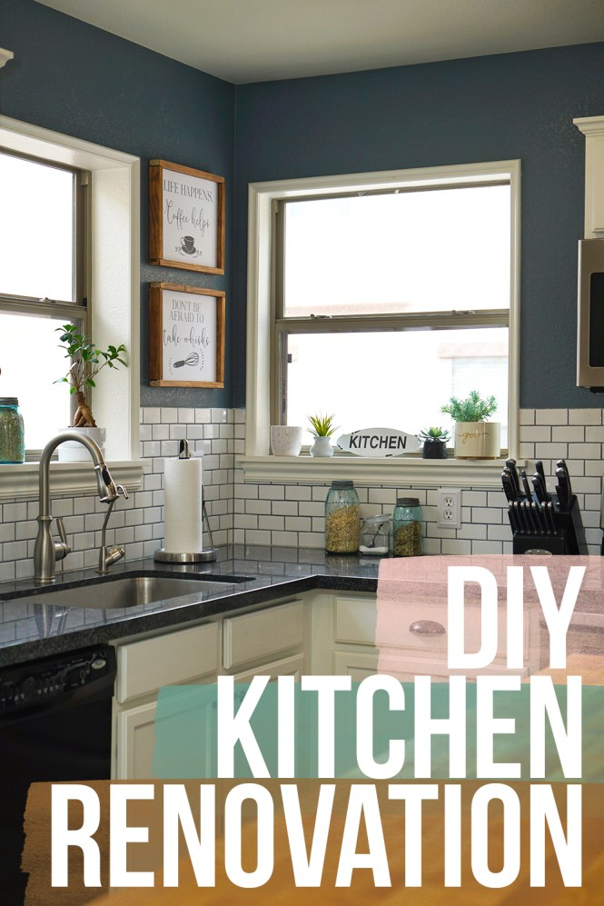 diy kitchen renovation with subway tile, dark gray granite countertops, etsy decor, cabinets painted white