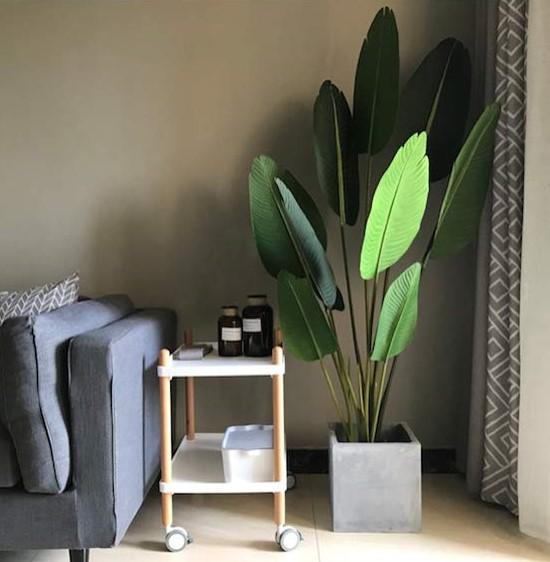 large fake plant for minimalist decor