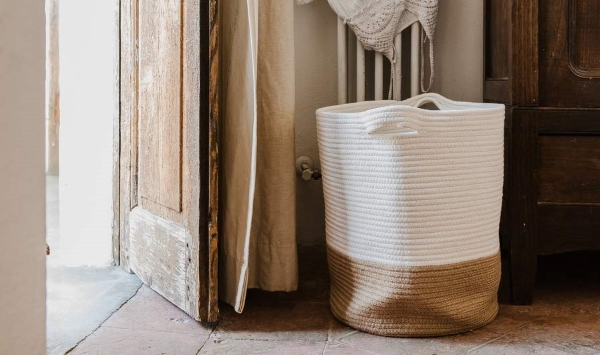 natural two toned woven basket from amazon