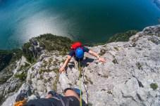 Kletterer am Südwestgrat auf den Traunstein
