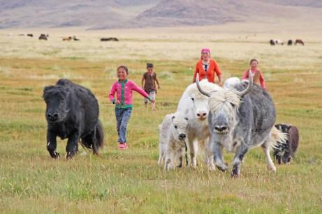 Mongolische Familie mit Haustieren