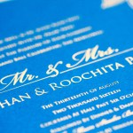 gold foil on teal silk finish paper invitation