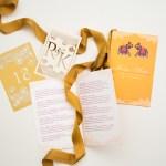 custom lasercut monogram, printed hindu wedding program with elephants, laser cut table numbers | AZURE