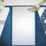 deep blue shimmer tuxedo cut folio, mayan inspired design