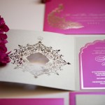 Malibu Rocky Oaks Luxury wedding invitation with Ganesh, laser cut & custom monogram. Invitation design inspired by palaces in india