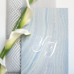 translucent folio with mayan inspired silver print and marbled fair-trade paper