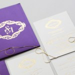 violet invitation with gold