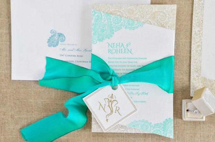Letterpress & gold foil indian wedding invitation