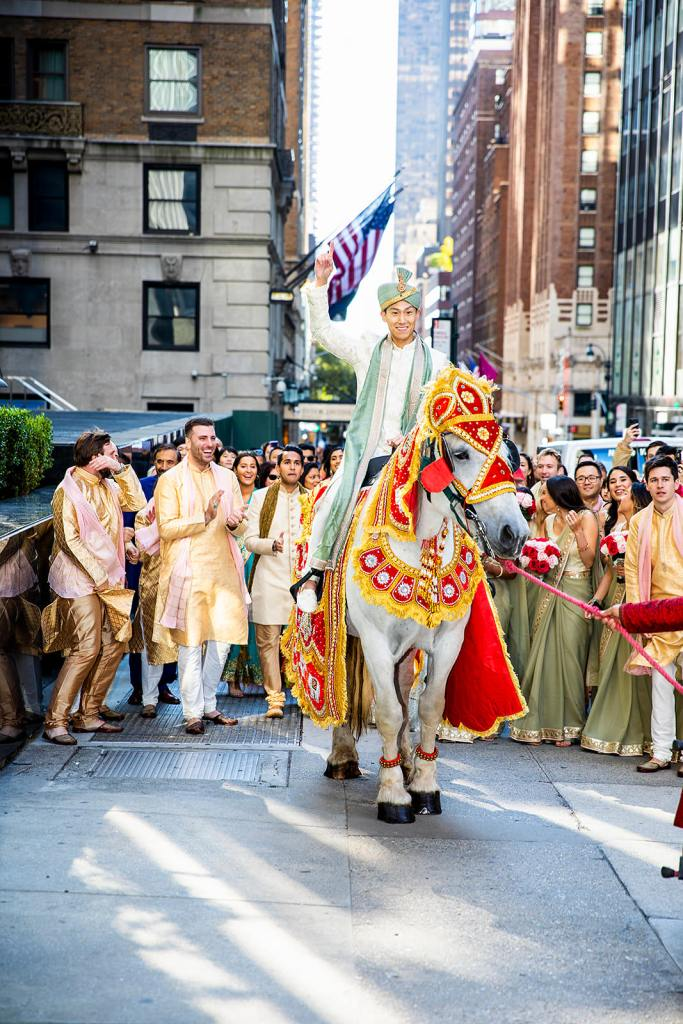 Baraat in NYC Indian Korean Multicultural wedding