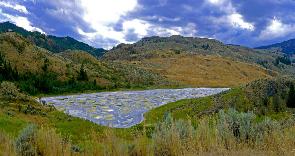 Spotted lake surrounded by lush, green mountains.