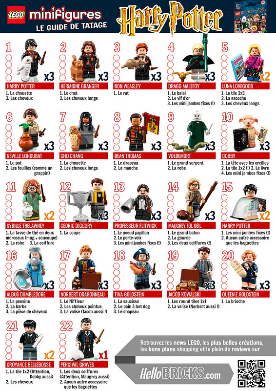 Guide de tatage LEGO 71022 Minifigs à collectionner Harry Potter