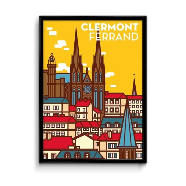 illustration de la cathédrale de clermont ferrand sur fond jaune et une ville stylisée avec des aplats de couleurs