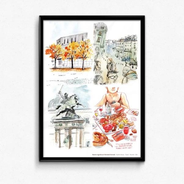 affiche Quatre regards sur Clermont-Ferrand par Tazab, Oliv, Richard Bertrand, Sophie Navas