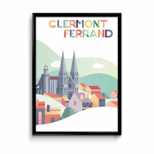affiche cathédrale de clermont ferrand illustrée en plats de couleurs pastels violet rose et bleu-vert