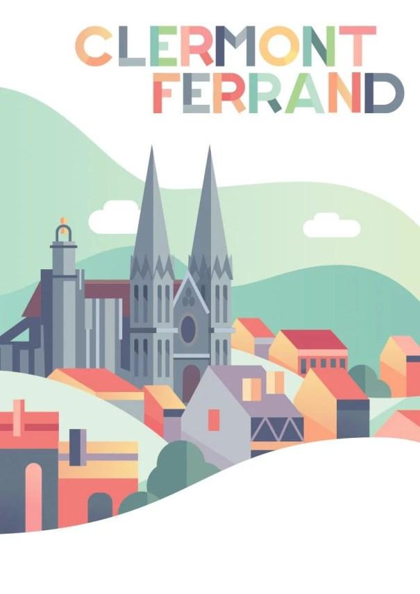 Affiche avec vue de la cathédrale deClermont-Ferrand (Auvergne) illustration enfant couleurs pastels