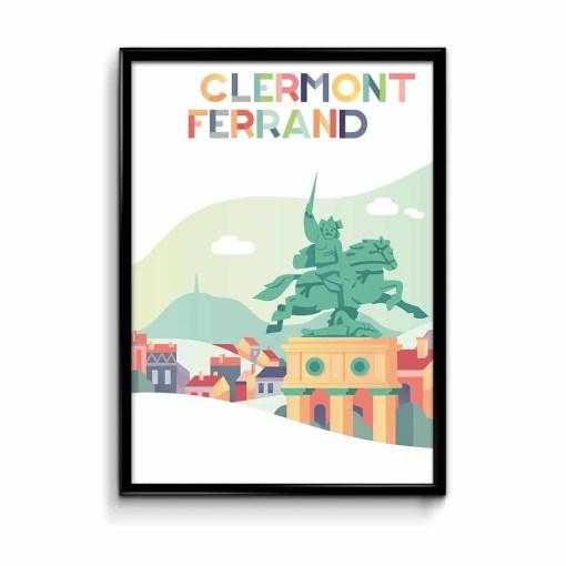 illustration couleurs pastels de la statue de vercingétorix à clermont ferrand avec la silhouette du puy de dôme en arrière-plan en vert clair