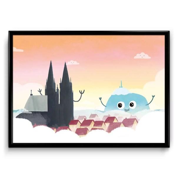 affiche illustrée où la cathédrale de clermont ferrand salue le puy de dôme dans un style enfantin