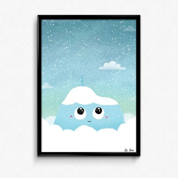 affiche puy de dôme sous la neige illustration par Sow