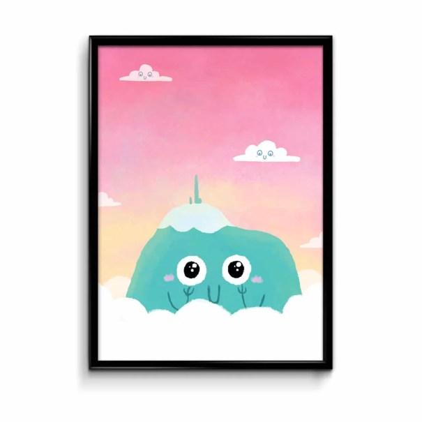 affiche Puy de Dôme mignon avec un ciel rose en fond par Sow Ay