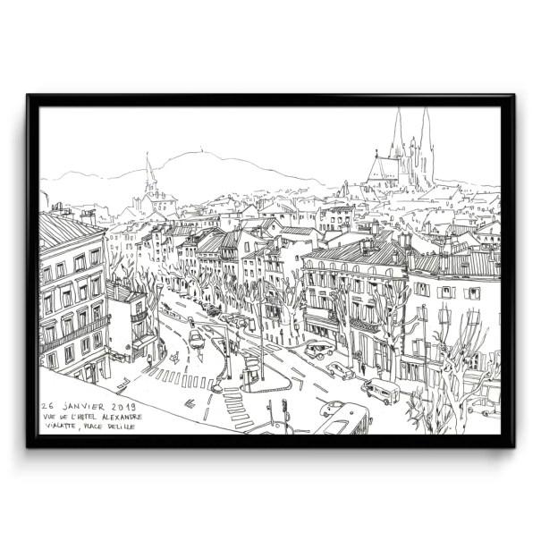 illustration noir et blanc au crayon d'une vue d'ensemble de la place Delille à Clermont-Ferrand