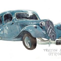 dessin à l'aquarelle d'une voiture traction avant de citroën