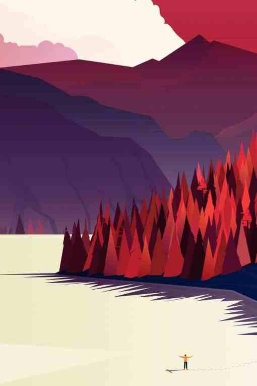 affiche illustration canada en rouge