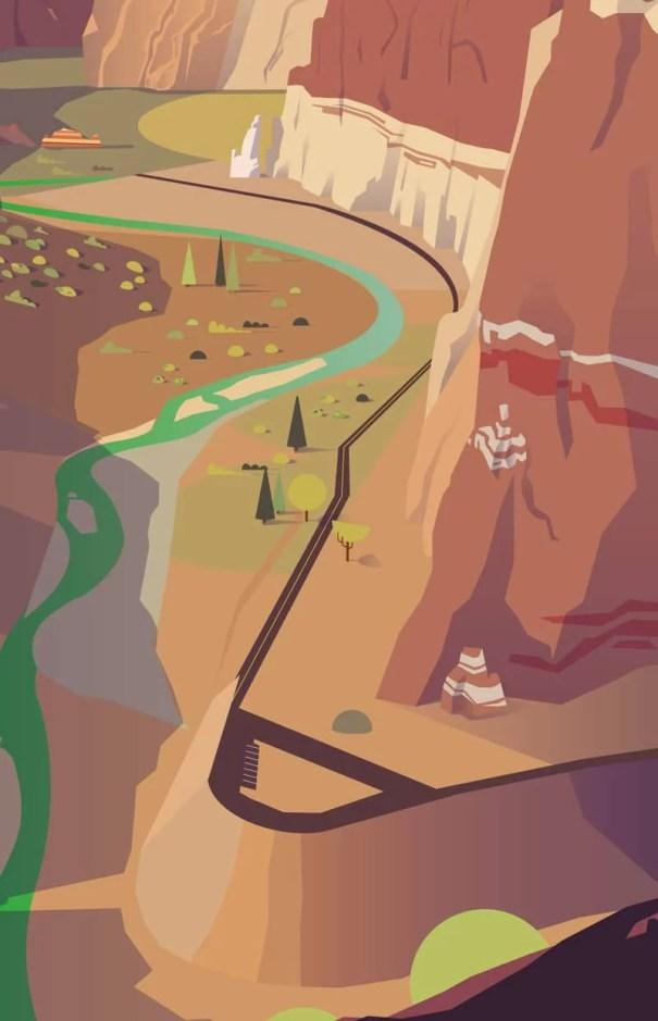 détail d'une illustration numérique représentant le parc naturel de zion, avec un canyon et une vallée aux USA