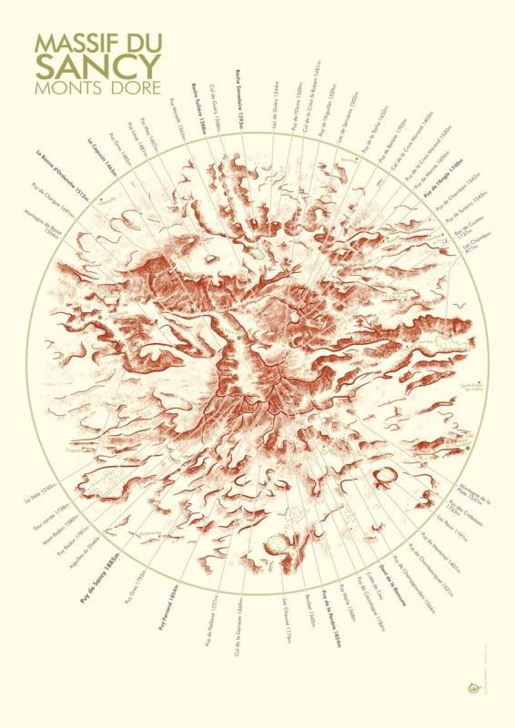 affiche carte du massif du sancy