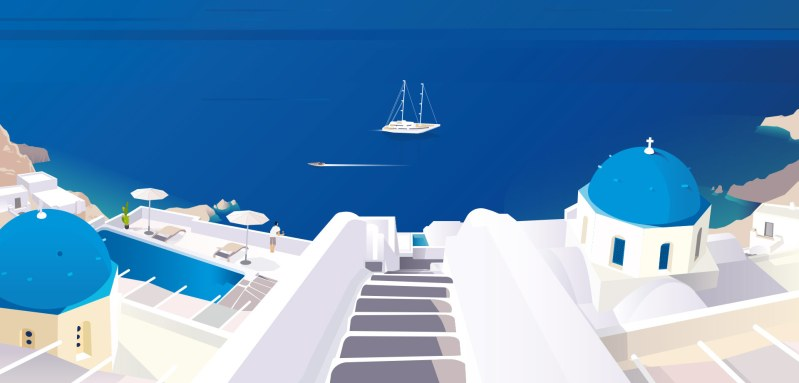 bannière boutique visuel illustrée avec île de Santorin et la mer