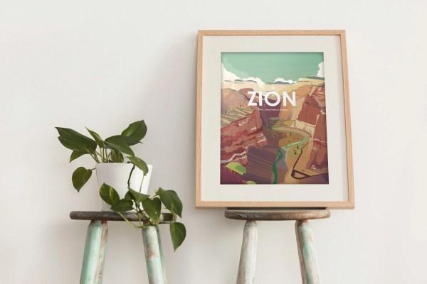affiche parc de zion en photo sur un tabouret