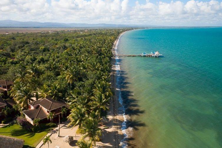 Drone aerial of Belizean Dreams Resort
