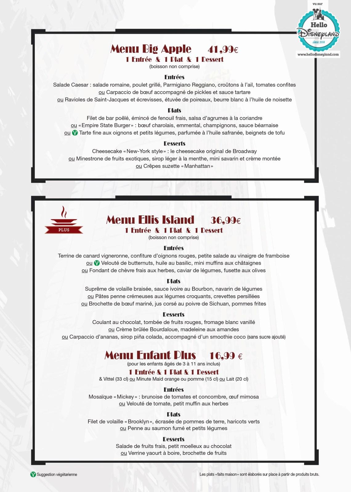 Tarifs et Menus Manhattan Restaurant :